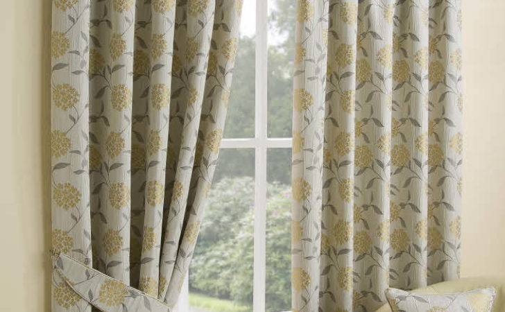 Jacquard Floral Ochre Fully Lined Ready Made Curtains