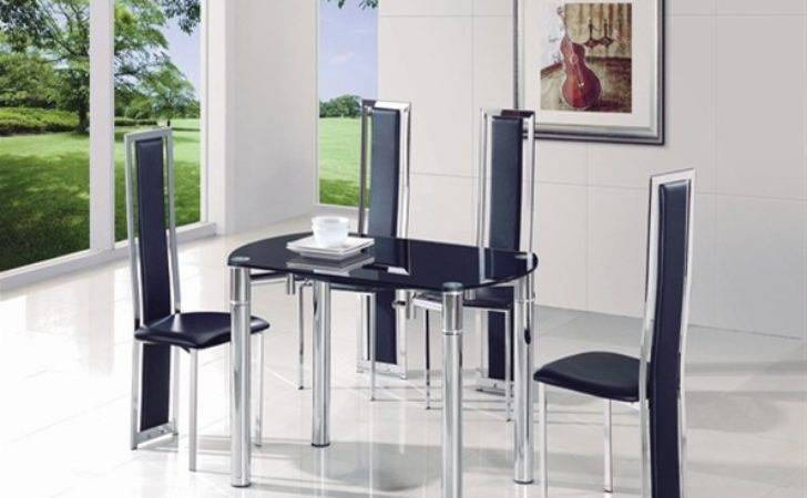 Java Extending Glass Table Dining Chairs