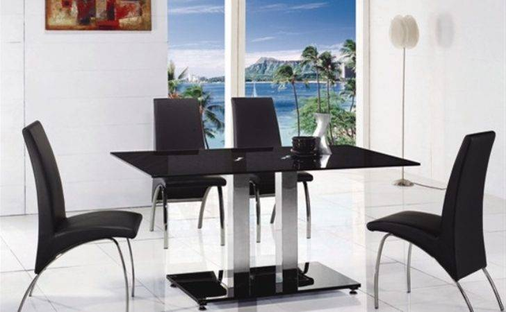 Jet Large Glass Dining Table Chairs