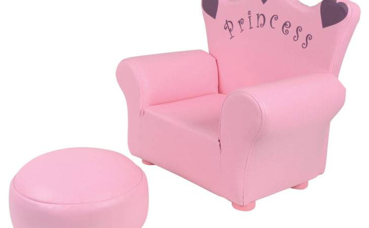 Kids Leather Look Armchair Sofa Chair Footstool