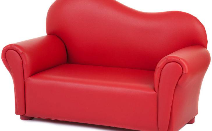 Kids Wavy Red Sofa Seater Faux Leather Childrens