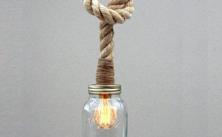 Kilner Jar Rope Pendant Light Unique