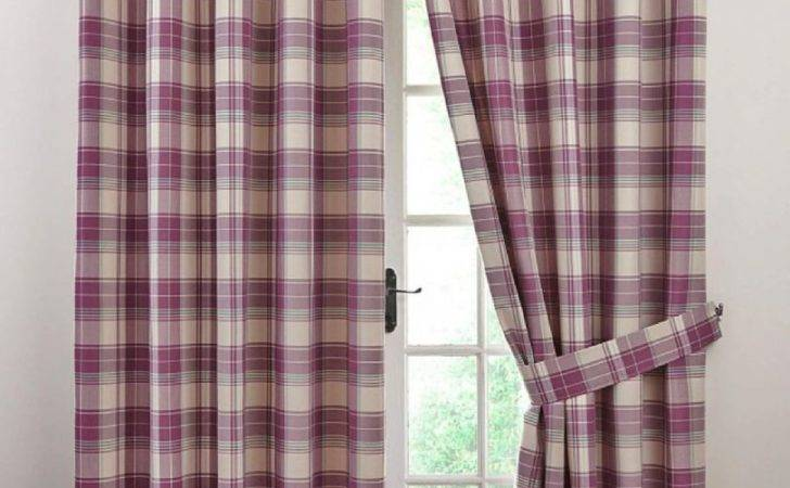 Kindle Check Tartan Eyelet Lined Pair Curtains Heather