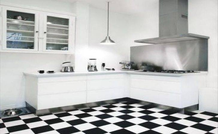 Kitchen Black White Floor Tiles Tiled