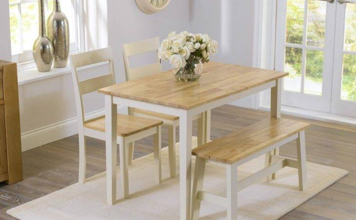 Kitchen Dining Set Bench Chairs Oak Large