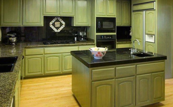 Kitchen Green Walls Brown Cabinets Cream Color