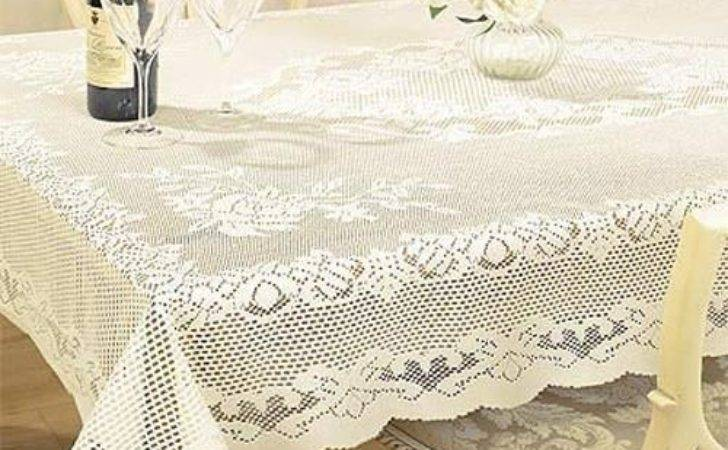 Lace Tablecloth Traditional Woven Floral White Cream