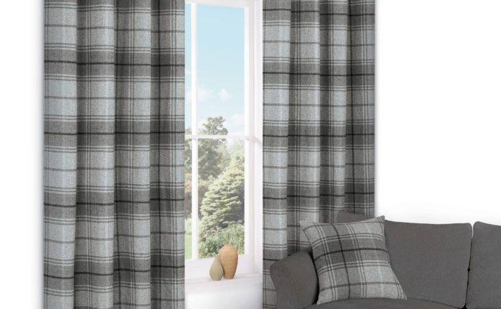 Lamego Grey Check Eyelet Lined Curtains