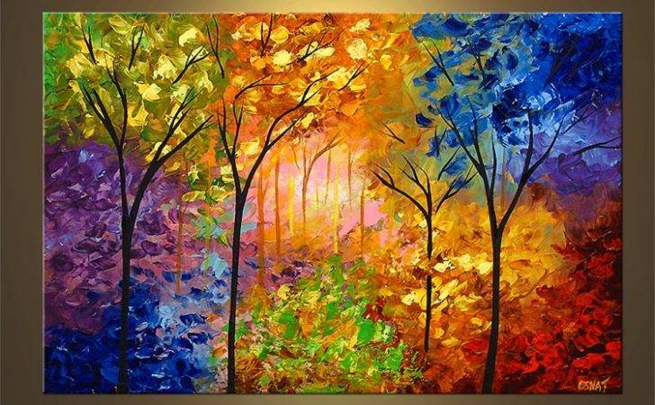 Landscape Painting Bold Colorful Blooming Trees