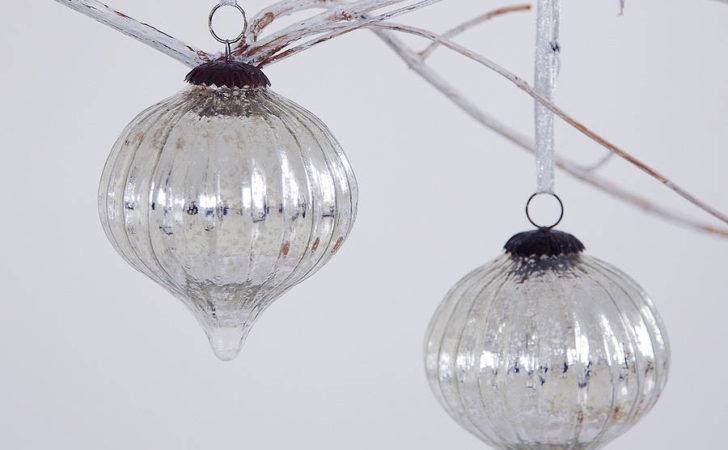 Large Antique Effect Glass Christmas Bauble Set Two