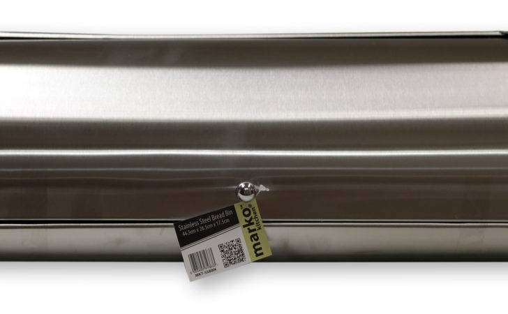 Large Bread Bin Loaf Storage Box Silver Brushed Stainless