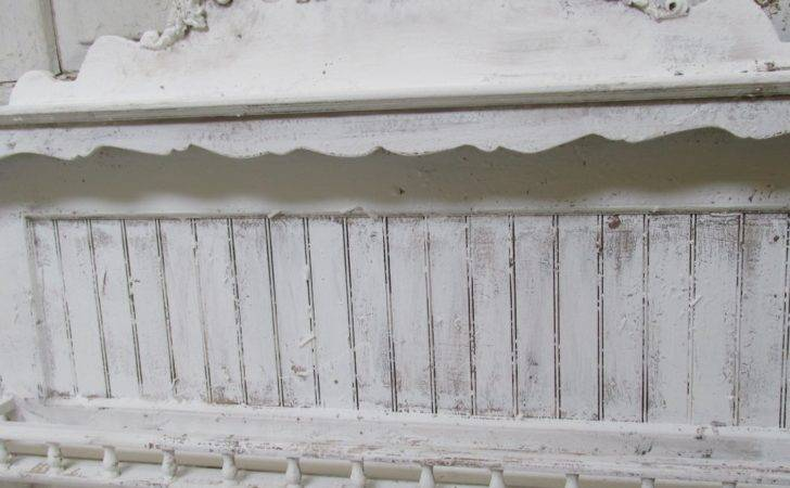 Large Distressed White Wall Shelf Shabby Cottage Chic Ornate