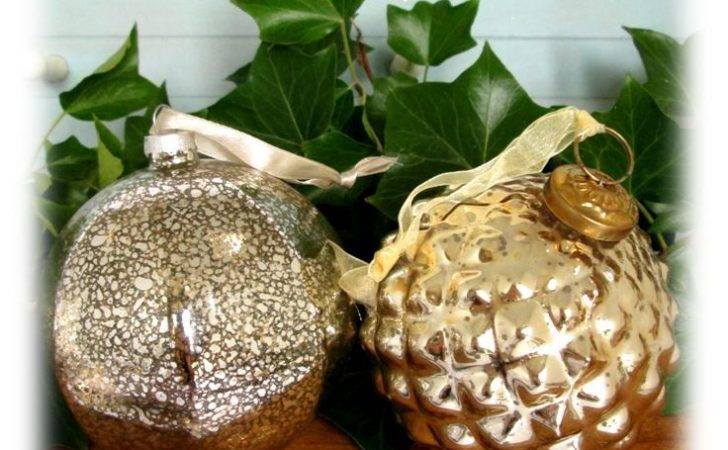 Large Gold Mercury Glass Baubles Available Now Christmas