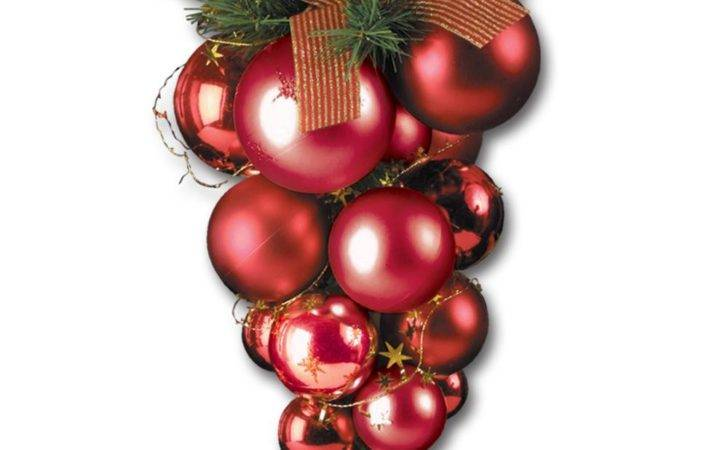 Large Red Christmas Bauble Cluster Peeks
