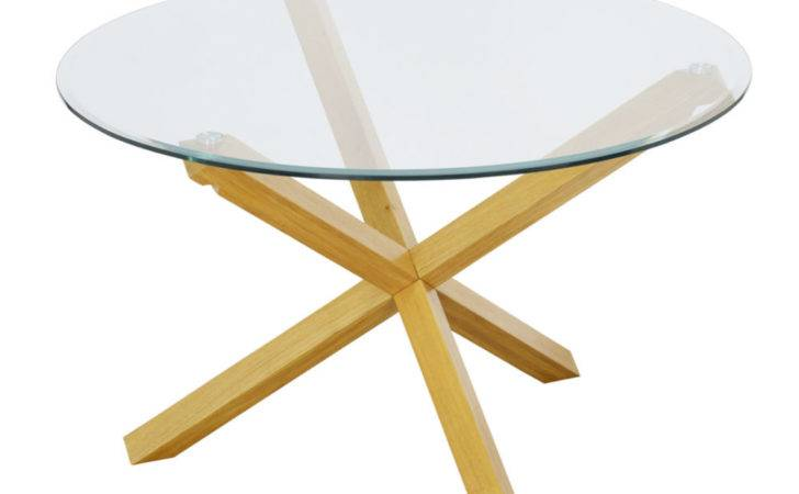 Large Round Glass Dining Table Solid Oak Legs