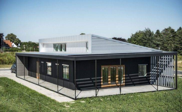 Large Shipping Container Home Plans Black Grey