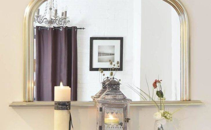 Large Wall Mirror Arched Silver