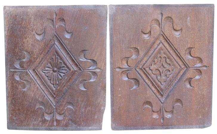 Late Century Pair Salvaged Carved Oak Plaques