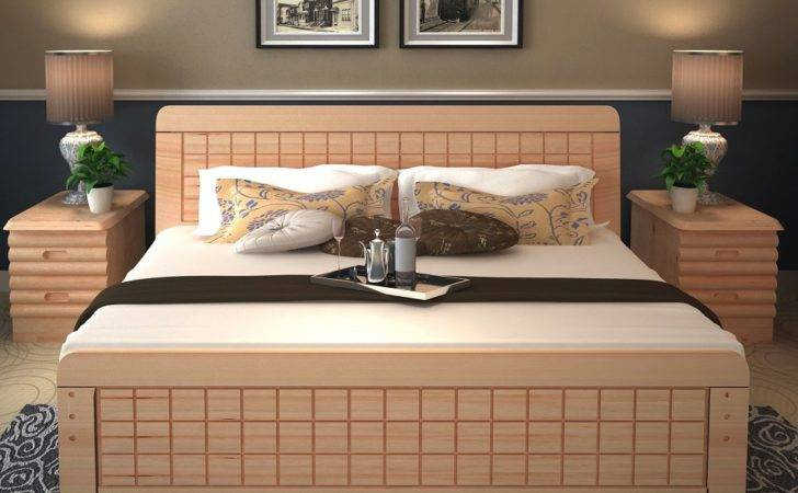 Latest Solid Wood Double Bed Designs Storage Box