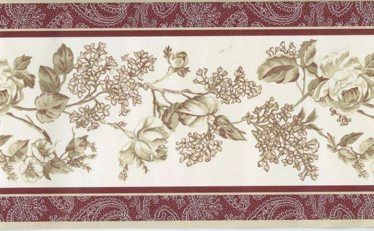 Laura Ashley Country Tan Floral Rust Red Trim