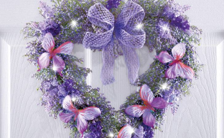 Lavender Heart Butterfly Wreath White Lights Wall Door