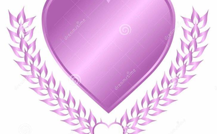 Lavender Heart Crest Vector Illustration Emblem