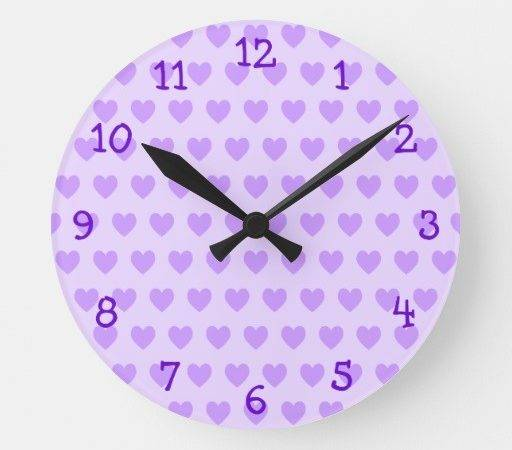 Lavender Heart Pattern Wall Clock Zazzle