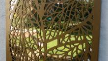 Leaf Pattern Outdoor Garden Screen Metallic Gold