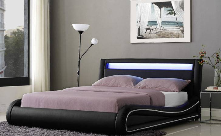 Led Double Bed Frame King Faux Leather