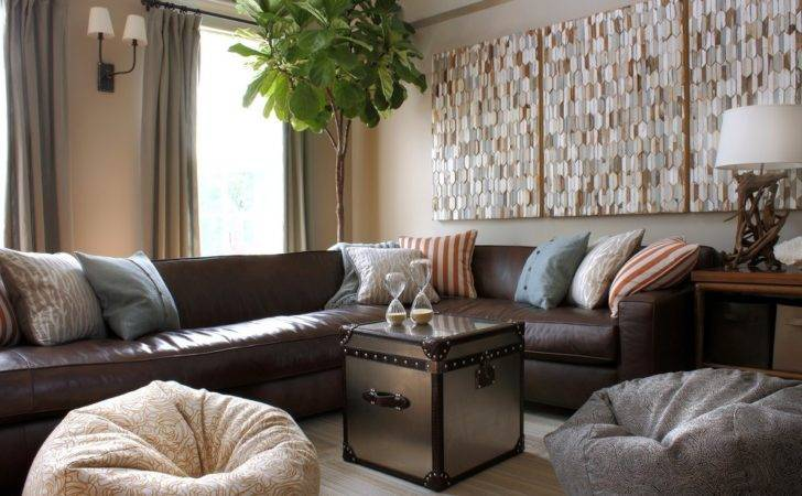 Light Brown Leather Living Room Contemporary Foam