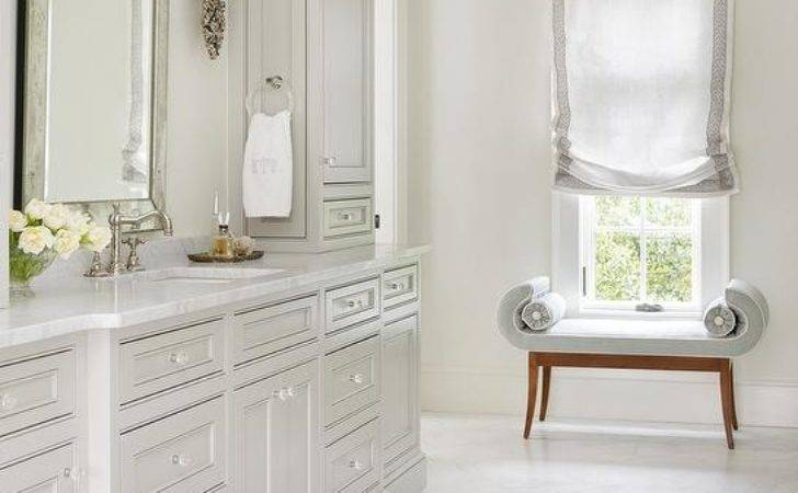 Light Grey Bathroom Cabinets Glass Knobs