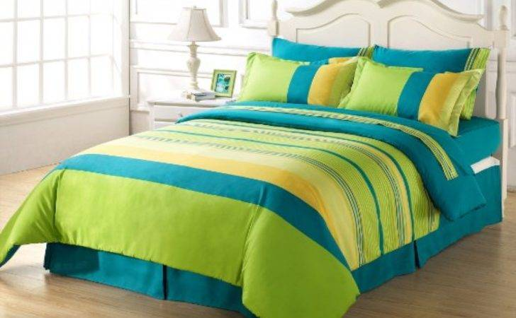 Lime Green Blue Bedroom Comforter