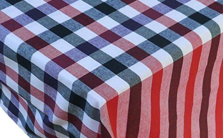 Linen Tablecloth Country Style Pattern Red Black