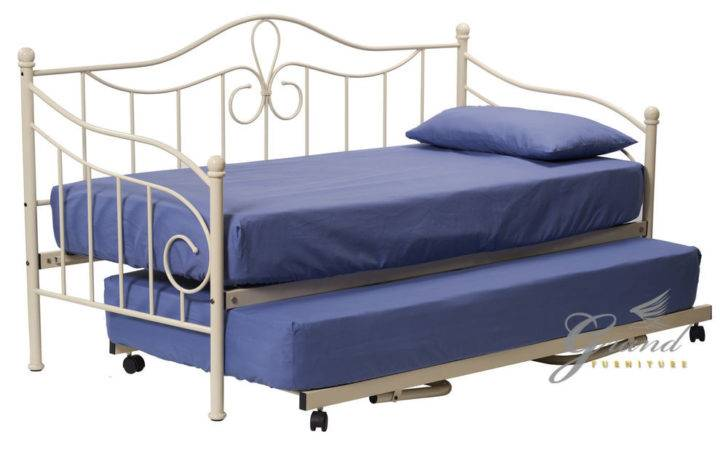 Lisbon Metal Day Bed Trundle Cream Single Guest