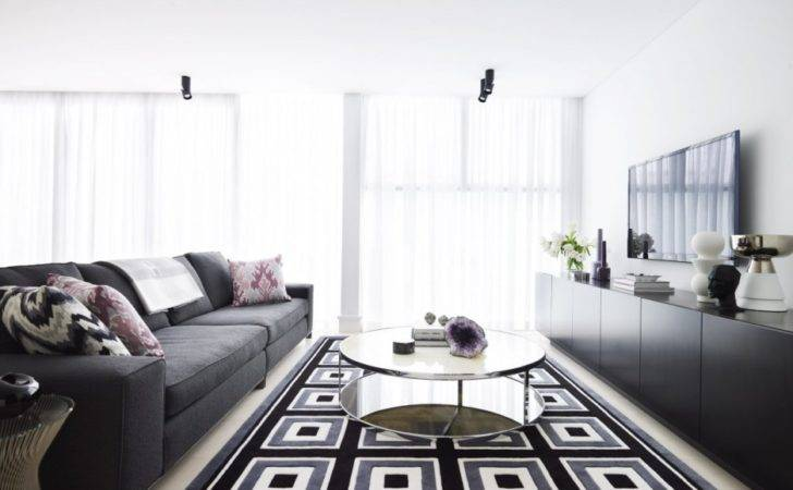 Living Room Exciting Black White Grey