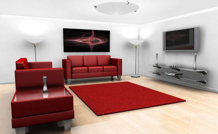 Living Room Red Sofas Rug New Home