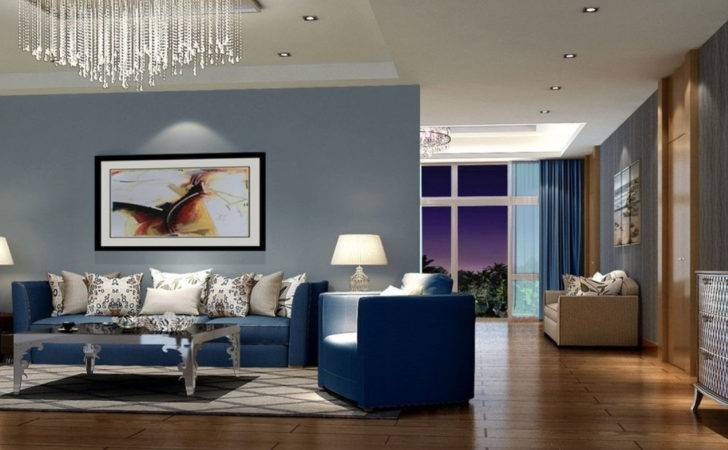 Living Room Wall Royal Blue Matching Colour Ideas