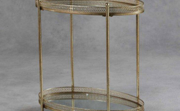 London Antique Style Gold Colour Metal Drinks Trolley