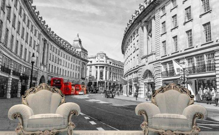 London Red Bus British Style Retro Building Large Wall