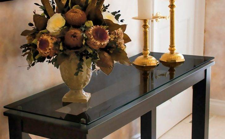 Long Wood Rectangle Console Table Black Glass Top