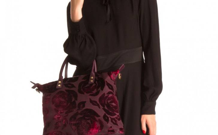 Lulu Guinness Lip Rose Velvet Devore Medium London Tote
