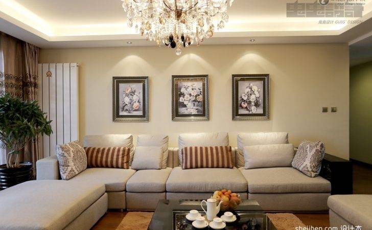 Luxury Living Room Interior Style Pop Ceiling