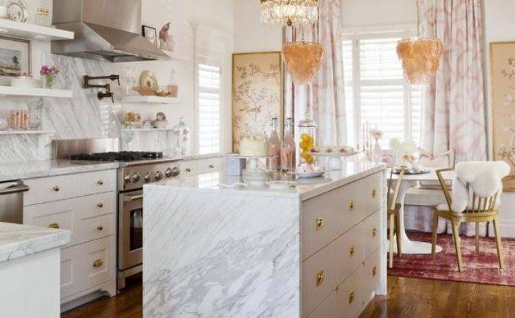 Marble Waterfall Island Contemporary Kitchen Michael