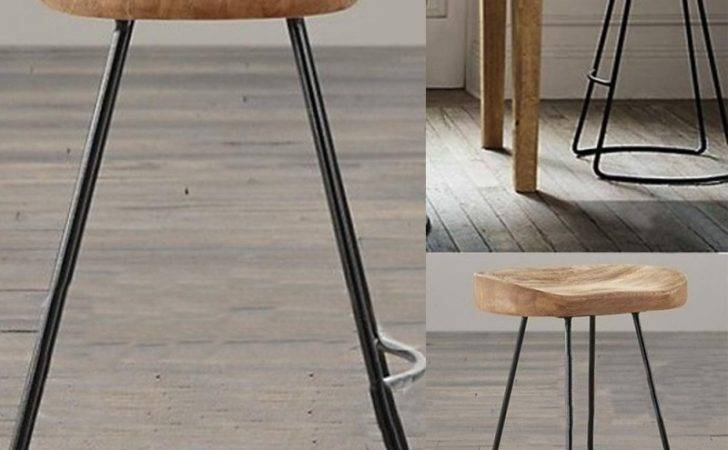 Metal Industrial Bar Stools Vintage Backless Stool