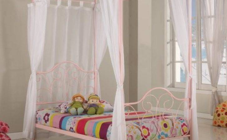 Metal Twin Canopy Bed Pink Finish Little Girl Need