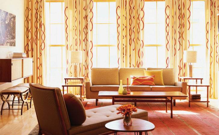 Mid Century Modern Curtains Living Room Midcentury