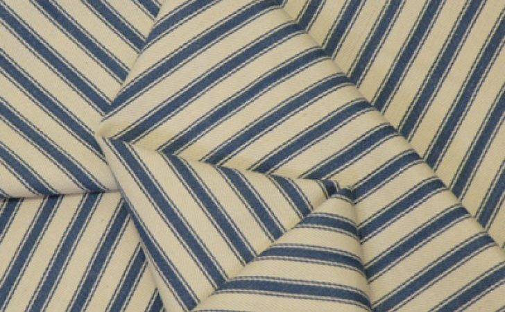 Mid Petrol Blue Woven Stripe Cotton Ticking Fabric Ditto
