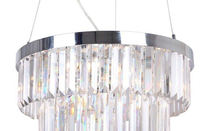 Modern Chrome Crystal Glass Two Tier Ceiling Chandelier