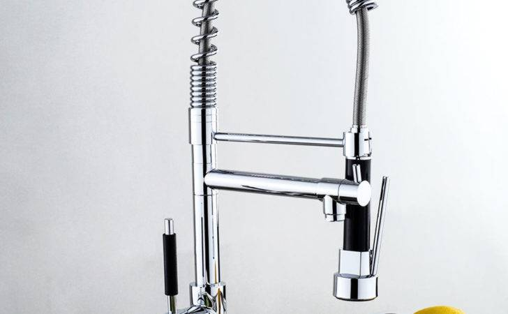 Modern Chrome Pull Out Spray Hose Swivel Brass Kitchen
