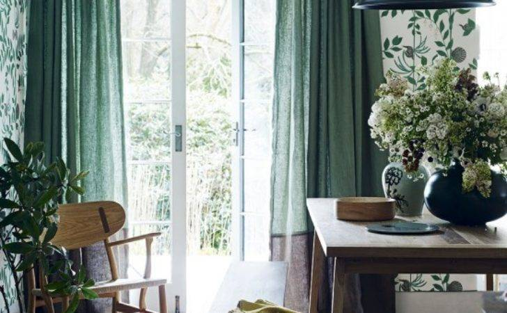 Modern Country Dining Room Green Curtains